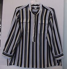 CJ Banks Size 3X Stripe pullover blouse, long sleeve, navy, white, yellow NWT