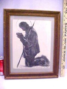 Vintage Peter Hurd THE LEGEND OF SAN ISIDRO Pencil Signed 1938 Framed Print
