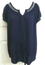 Faded Glory  Navy S/Sleeves Button Front Blouse Size XL NEW