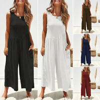 VONDA Women Plus Size Wide Leg Tank Tops Backless Solid Pants Jumpsuits Casual