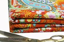Indian Screen Printing Paisley Floral Printed Sewing, Dressmaking Fabric 1 Yard