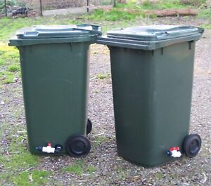 LARGE 240-Litre SULO WHEELIE BIN with TAP / HOSE FITTING - PORTABLE WATER TANK