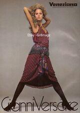 1982 Versace Print Advertisement Sexy Blonde Rosie Vela Veneziana Vintage 1980s
