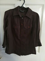 TOPSHOP WOMENS BROWN SHIRT BLOUSE TOP 3/4 SLEEVE SIZE 8 LENGTH 23 PIT TO PIT 17
