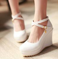 Womens Wedge Heel Pumps Platform Cross Strap Sweet Candy 2017 Plus Size New Shoe