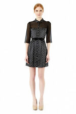 ERIN Erin Fetherston Shirt DRESS with Bow Belt. In navy-white. Size US0 (AU6).