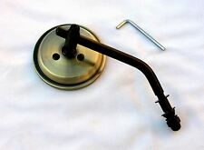 Antique Brass 3 Inch Mini Mirror wih Black Stem & Hardware HD, Bobber, Chopper,