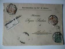 RACCOMANDATA R.R. DA LECCE AL SINDACO DI MATINO CON BELL'AFFRANCATURA 24.07.1918