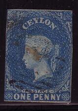 CEYLAN - N°1A COLONIE BRITANNIQUE - ONE PENNY BLEU - OBLITERE - COTE 35€.