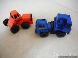 2  MINI TONKA PLASTIC 1994 BLUE 1992 ORANGE CONSTRUCTION TRACTOR TRUCK VINTAGE