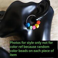 Cute Unven Random Color Wooden Cubic Beads 3 cm Ring Huggie Hook Earrings 1 Pair