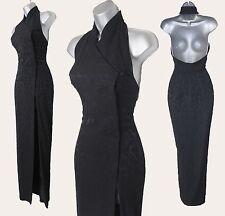 KAREN MILLEN Vintage Black Jacquard Halterneck Chinese Style Maxi Dress UK 10 38