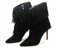 Sam Edelman para mujer UK 4 EU 37 Belinda Negro Gamuza Borla Tacón Alto Botas al Tobillo Usado