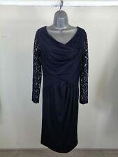 WOMENS ALEXON NAVY BLUE LACE SLEEVES FORMAL LIGHTWEIGHT DRESS SIZE UK 10