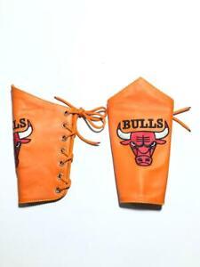 Bulls Orange 2 Pieces Genuin Leather Gauntlet Cuff Wristband Arm Band 01 Pair