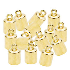 100Pcs DIY Jewelry Bead Caps Cord End Caps Tassel Crimp Connector Gold 6mm