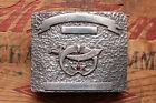 Vintage Hand Made Sterling Silver Shriners Masonic Western Belt Buckle