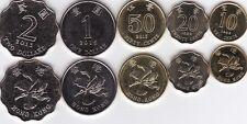 Hong Kong - set 5 coins 10 20 50 Cents 1 2 Dollars 1998 - 2015 Unc Lemberg-Zp