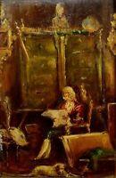 CHEVALIER LISANT. HUILE SUR BOIS. CERCLE DE LUCAS VILLAAMIL. ESPAGNE. XIX-XX