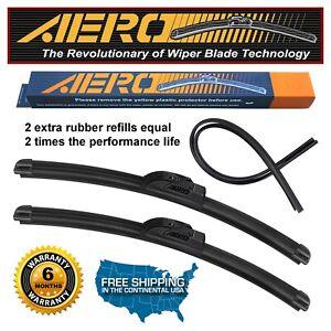 "AERO 26""+20"" OEM Quality Beam Windshield Wiper Blades + Extra Refills (Set of 2)"