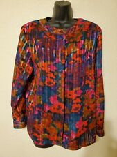 Vintage 80s Hasting & Smith Striped Semi Sheer Metallic Floral Blouse top 10