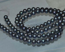 wholesale Natural 4 Strands 8-9mm black round tahitian pearl Loose Bead 15""