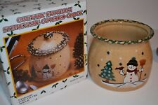 Country Snowman Stoneware Covered Crock, With Box, New and Never Used