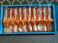 24k Gold PL.  Appetizer Fork & Spoon Set Korea Cherry Tree Branch & Bird Enamel