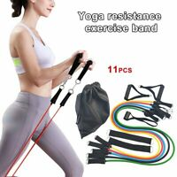 11 PCS Resistance Band Yoga Pilates Abs Exercise Fitness Tube Workout Bands D5