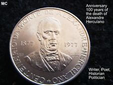 1977 Portugal 100 yr Anni of death A. Herculano 25 Esc. coin in Extremely Fine