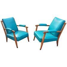 JULES LELEU, paire de fauteuils Art Deco en acajou et moleskine, vers 1950
