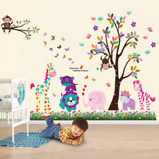 Animal Owl Wall Stickers Monkey Jungle Zoo Tree Nursery Baby Bedroom Decals Art