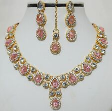 Designer Indian Gold Plated Stone Kundan Necklace Earring New Jewelry Set-A1V