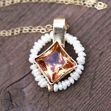 Pearl and Golden Zircon Pendant Solid 14k Yellow Gold  4th 30th Anniversary