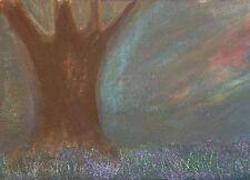 Original 5x7 Acrylic Painting on Canvas Darkest Before Dawn Trees Purple Flowers
