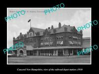 OLD LARGE HISTORIC PHOTO OF CONCORD NEW HAMPSHIRE, RAILROAD DEPOT STATION c1910