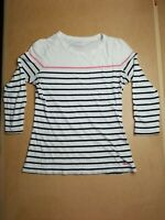 Vineyard Vines Womens XS 3/4 Sleeve Pima Cotton Navy Pink Striped Shirt