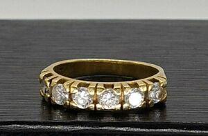 Fantastic 18ct gold 6 stone diamond ring UK N half eternity