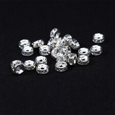 100 Piece Rondelle Spacer Bead for Jewelry Making Crafts Silver 6mm