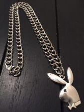 """15"""" Stainless Steel Designer Necklace with Playboy Pendant/USA,We Ship Same Day!"""