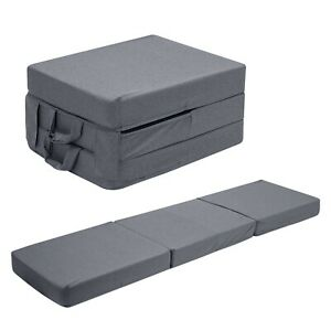 Grey Fold Out Z Bed Cube Sleepover Guest Mattress Futon Chair Bed Adults Kids