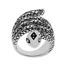 Rock & Redemption Jet Crystal Snake Ring in Sterling Silver