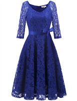 Women's Vintage Floral Lace V-Neck 3/4 Sleeve Wedding MidiDress