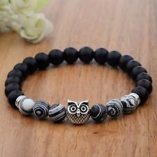 Mens Simple Charm Spot Natural Lava Stone Silver Owl 8MM Beaded Bracelets 7.5''