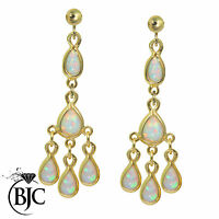Beautiful 9ct Yellow Gold Cabochon Opal Chandelier Drop Earrings Brand New