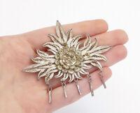 925 Sterling Silver - Vintage Filigree Detail Dangling Floral Brooch Pin- BP5669