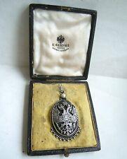 imper. Russian double-headed Eagle Pendant, jade stone 84 silver FABERGE design