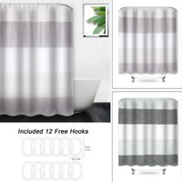 Modern Waterproof Striped Polyester Fabric Bathroom Shower Curtain With 12 Hooks