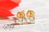 0.5ct Brilliant Round Cut Screw Back Earring Studs Real Solid 14K Yellow Gold