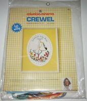 Vintage Columbia Minerva Crewel Embroidery STORK BIRTH SAMPLER Kit Erica Wilson